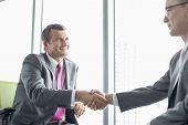 Mature businessmen shaking hands in office