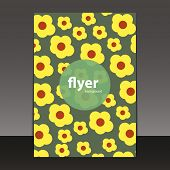 Flyer or Cover Design Template with Floral Pattern