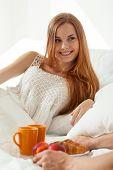 Women Gets Breakfast In Bed