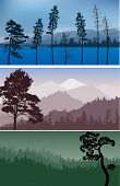 set of three landscapes with mountains