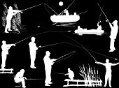illustration with fishermen silhouettes isolated on black background