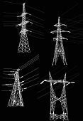 illustration with electrical pylons isolated on black background