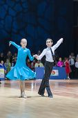 Minsk-belarus, October 19, 2014: Unidentified Dance Couple Performs Juvenile Latin-american Program
