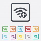 Wifi plus sign. Add Wi-fi symbol. Wireless.