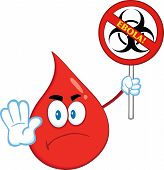 Angry Red Blood Drop Character Holding A Stop Ebola Sign With Bio Hazard Symbol And Text