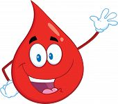 Happy Red Blood Drop Cartoon Mascot Character Waving