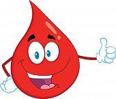 Red Blood Drop Cartoon Mascot Character Giving A Thumb Up