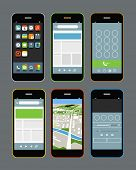 Modern smartphones with different application screens. Design elements