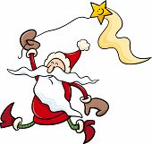 Santa With Star Cartoon Illustration