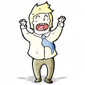 cartoon office man celebrating