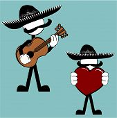 mexican mariachi pictogram cartoon love