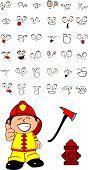 firefighter kid cartoon set0