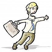 cartoon man rushing around