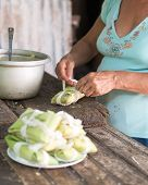 Woman Making Tamales In Cuba