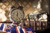 Vintage clocks background. Pass of time concept