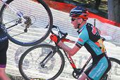 Cyclist Competes In Cyclocross Race