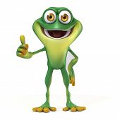 picture of cute frog  - 3d render cartoon of frog illustration collection - JPG