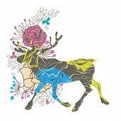 Floral deer Christmas greeting card