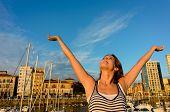 Joyful Tourist Enjoying European Summer Vacation