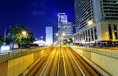 stock photo of hong kong bridge  - Modern city traffic night - JPG