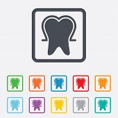 Tooth enamel protection sign icon. Dental care symbol.