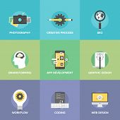 Creative Web Development Flat Icons Set