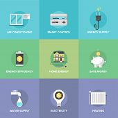 Home Energy Control Flat Icons Set