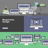 Responsive Web Design Flat Banners