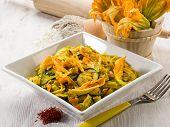 pasta with zucchibis flower and saffron