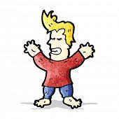 cartoon man with swollen hands and feet