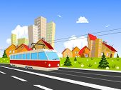 Colorful Vector City With Streetcar