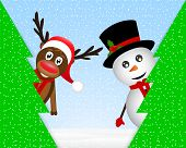 Snowman and reindeer peeking from behind trees