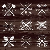 picture of wood pieces  - Vintage set of badges on distressed wood background - JPG