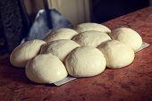 Fresh original Italian raw pizza dough, shovel and stone oven in background.