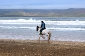 Horse And Rider On The Maharees Beach