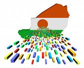 Niger map flag with containers illustration