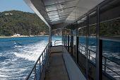 Deck Of Trimaran That Is Going Near Costa Brava Coastline.