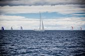 image of windy weather  - Yacht Regatta at the Adriatic Sea in windy weather - JPG