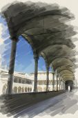 image of arcade  - art watercolor background on paper texture with european antique town - JPG