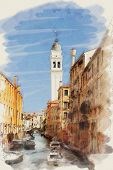 art watercolor background on paper texture with street, channel and boats in Venice, Italy