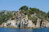 Rocks Punta De S'agulla Near Santa Cristina Beach, Costa Brava.