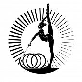 Woman gymnast. Vector illustration in the engraving style