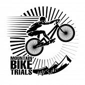 Mountain bike trials. Vector illustration in the engraving style