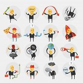 Set of flat design icons for business and marketing