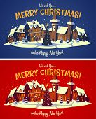 Holiday town. Christmas card \ poster \ banner. Vector illustration.