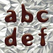 Chocolate alphabet small letters on the aluminum foil. Contain the Clipping Path of all letters