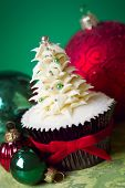 Cupcake with buttercream Christmas tree