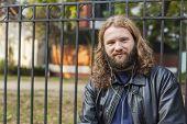Blond Beard Young Adult Hipster Man Listening Music