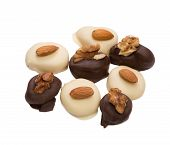 Delicious chocolate candies with nuts