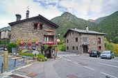Typical Traditional Dark Brick Andorra Rural Houses
